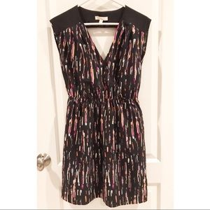 Lush Black and Multicolored Print Silky Dress